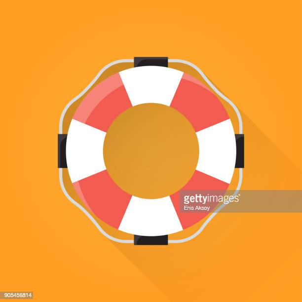flotation ring flat icon - rescue stock illustrations