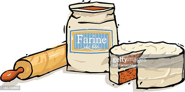 flour, cake and rolling pin - making a cake stock illustrations, clip art, cartoons, & icons