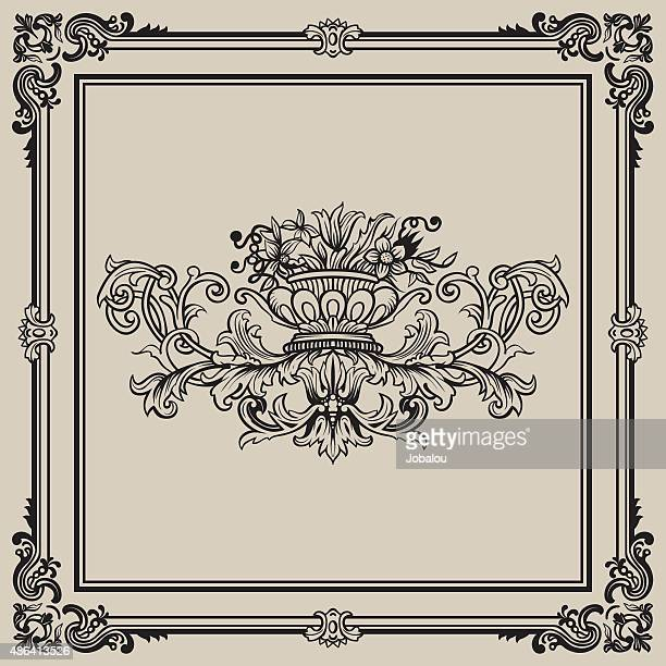flourish frame and floral - classical style stock illustrations, clip art, cartoons, & icons