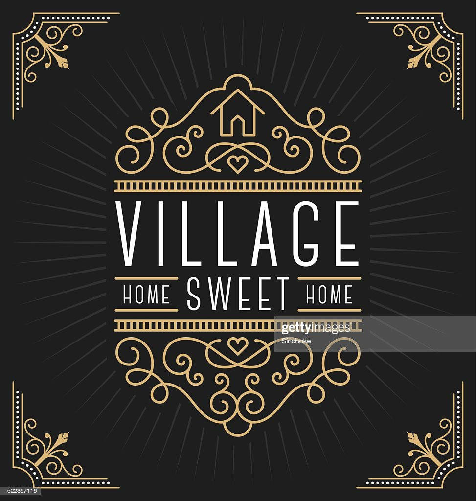 Flourish line vintage frame label logo design