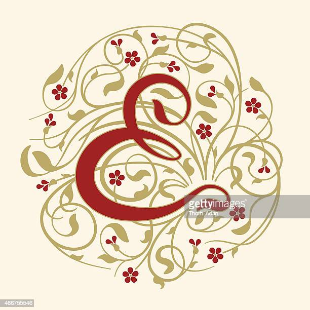Flourish, ornamental ampersand (&) with ruby red flowers