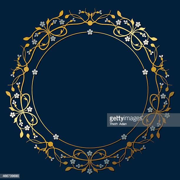illustrazioni stock, clip art, cartoni animati e icone di tendenza di prosperare, ornamentali cornice circolare in gold e silver - stili