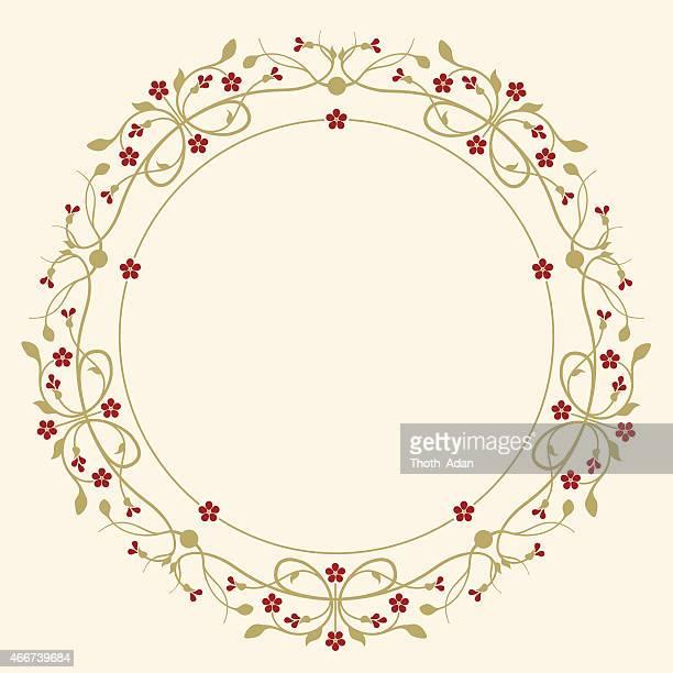 ilustraciones, imágenes clip art, dibujos animados e iconos de stock de florecer, ejemplar, circular marco con flores de rojo rubí - enredadera