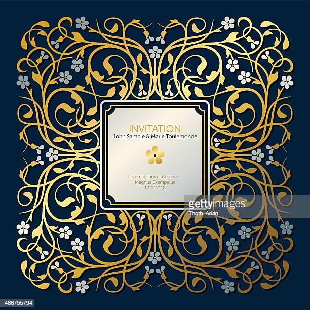 ilustraciones, imágenes clip art, dibujos animados e iconos de stock de florecer, bastidor ejemplar elemento en oro y plata (invitación tarjeta) - royal wedding