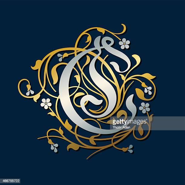ilustrações, clipart, desenhos animados e ícones de florescer, ornamental letra c (primeira) em gold e silver - letrac