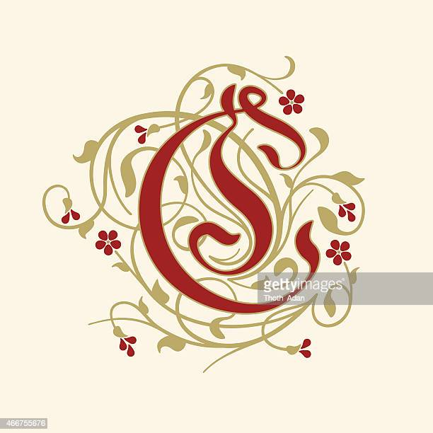 flourish, ornamental letter c (initial) with ruby red flowers - letter c stock illustrations, clip art, cartoons, & icons