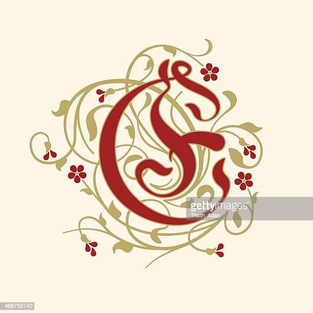 ilustraciones, imágenes clip art, dibujos animados e iconos de stock de florecer, ejemplar letra e (inicial) de rojo rubí flores - letrae
