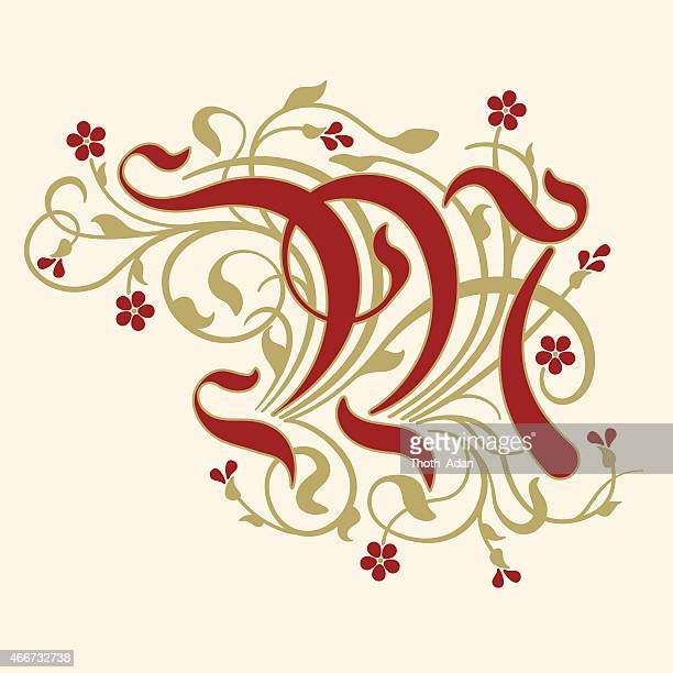 flourish, ornamental letter m (initial) with ruby red flowers - letter m stock illustrations, clip art, cartoons, & icons
