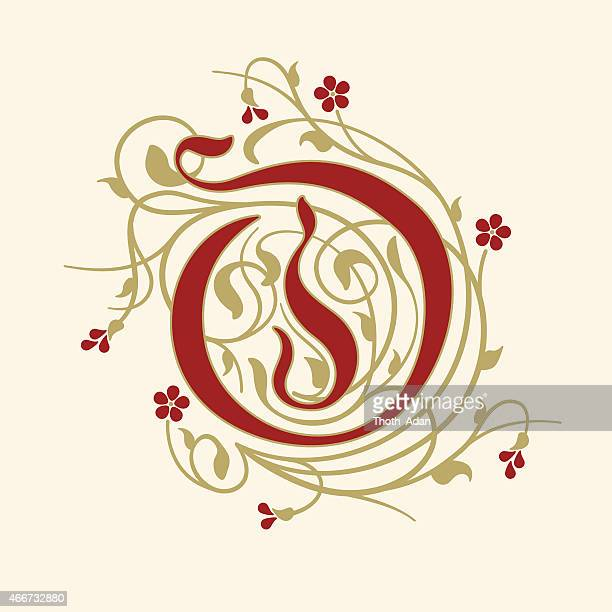 Flourish, ornamental letter O (Initial) with ruby red flowers