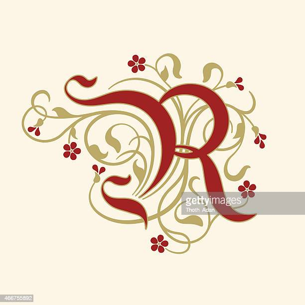 flourish, ornamental letter r (initial) with ruby red flowers - letter r stock illustrations