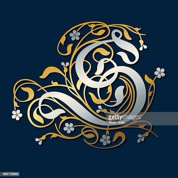 flourish, ornamental letter s (initial) in gold and silver - letter s stock illustrations, clip art, cartoons, & icons