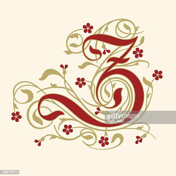Flourish, ornamental letter Z (Initial) with ruby red flowers