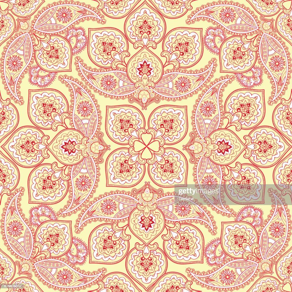 Flourish tile pattern. Floral arabic background.  Indian fabric ornament.