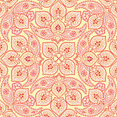 Flourish tile pattern. Floral arabic background.  Indian fabric ornament.