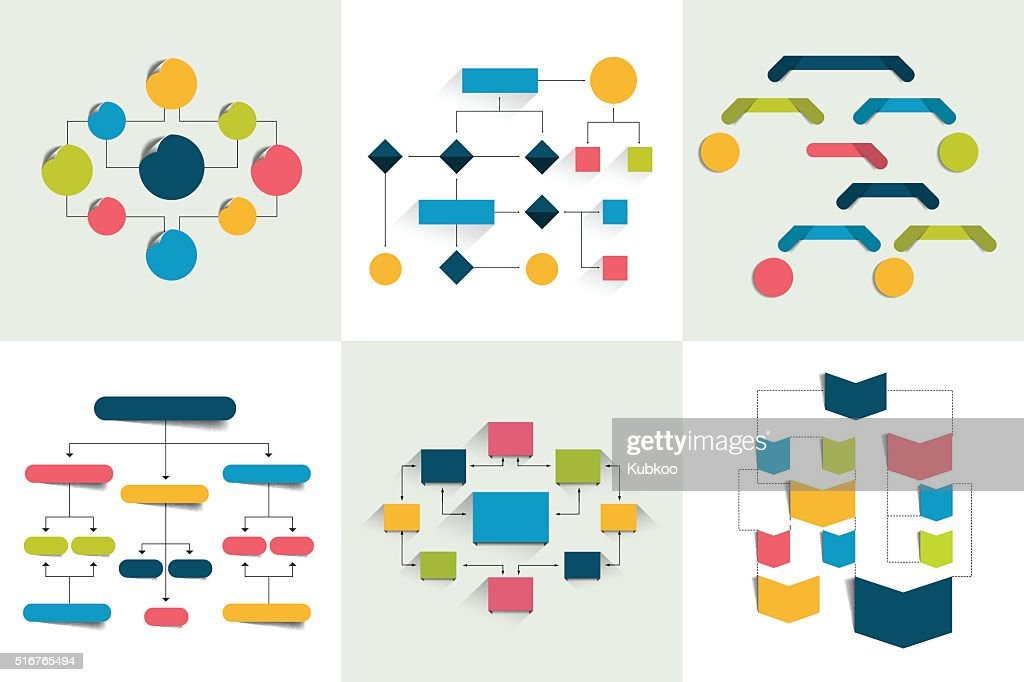 Flowcharts. Set of 6 flow charts schemes, diagrams. Infographics elements.
