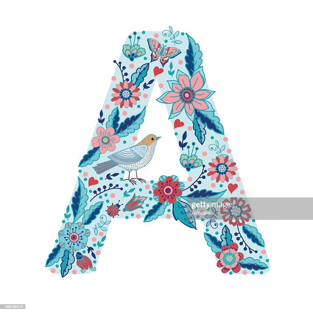 Flower alphabet letter A