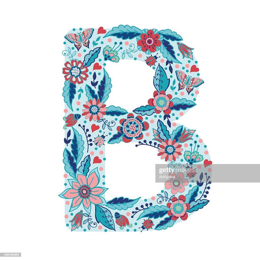 Flower alphabet letter B