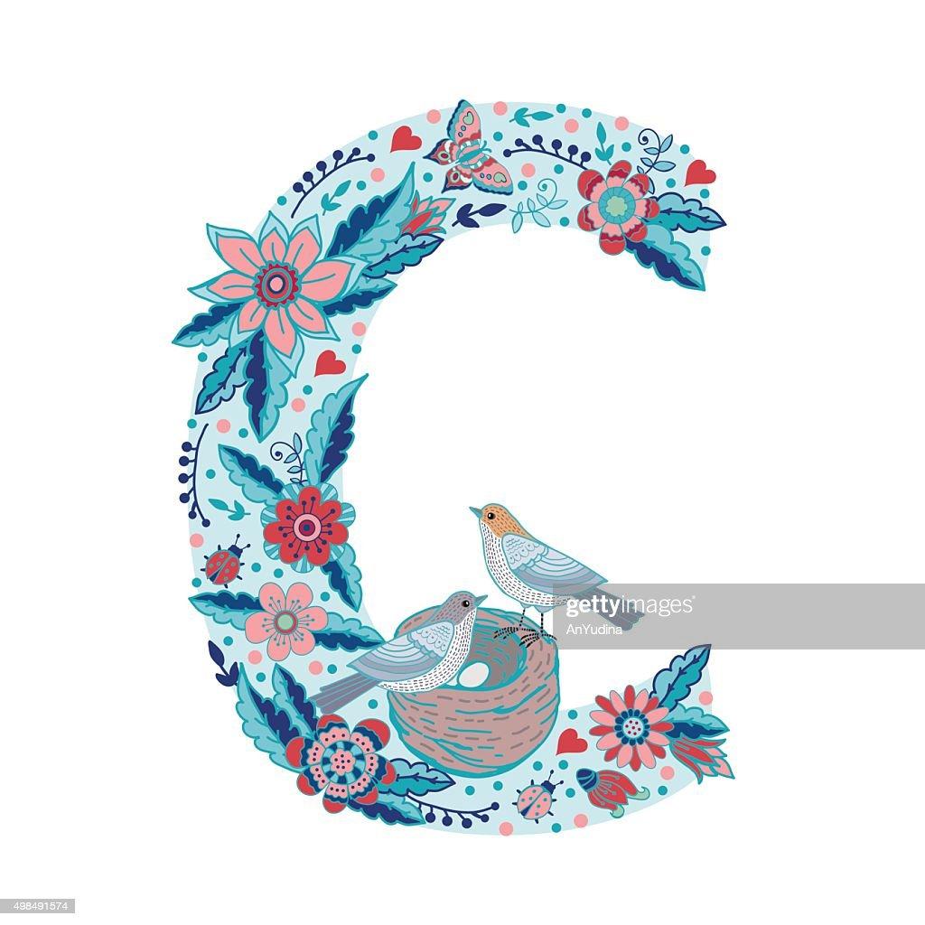 Flower alphabet letter C
