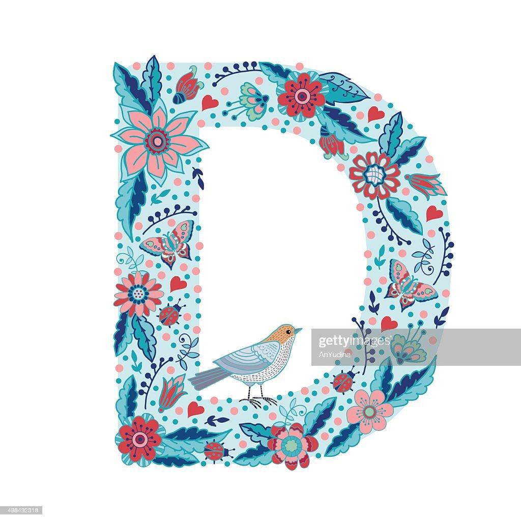 Flower alphabet letter D
