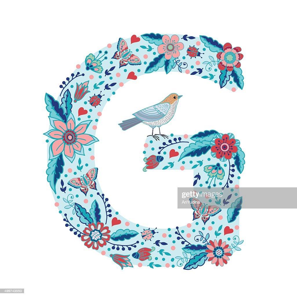 Flower alphabet letter G