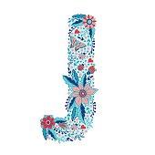 Flower alphabet letter J