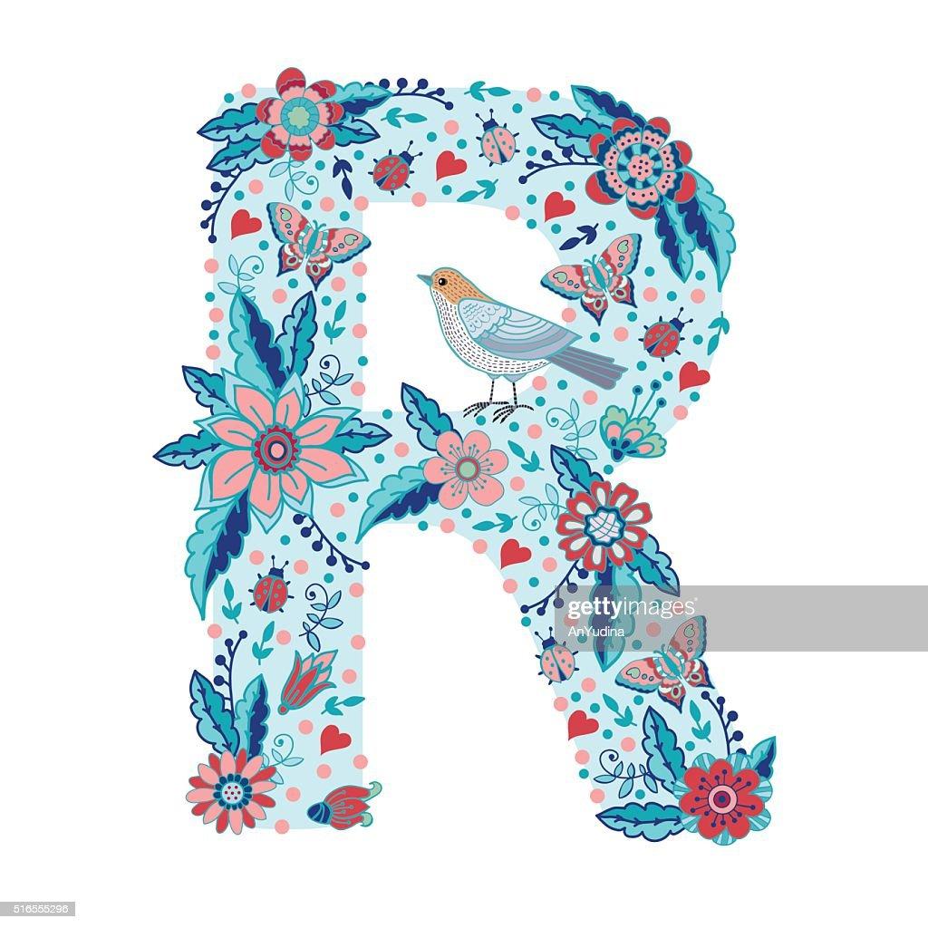Flower alphabet letter R