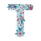 Flower alphabet letter T