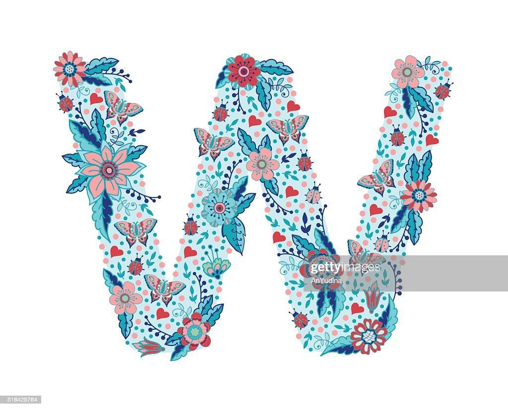 Flower alphabet letter W