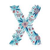 Flower alphabet letter X