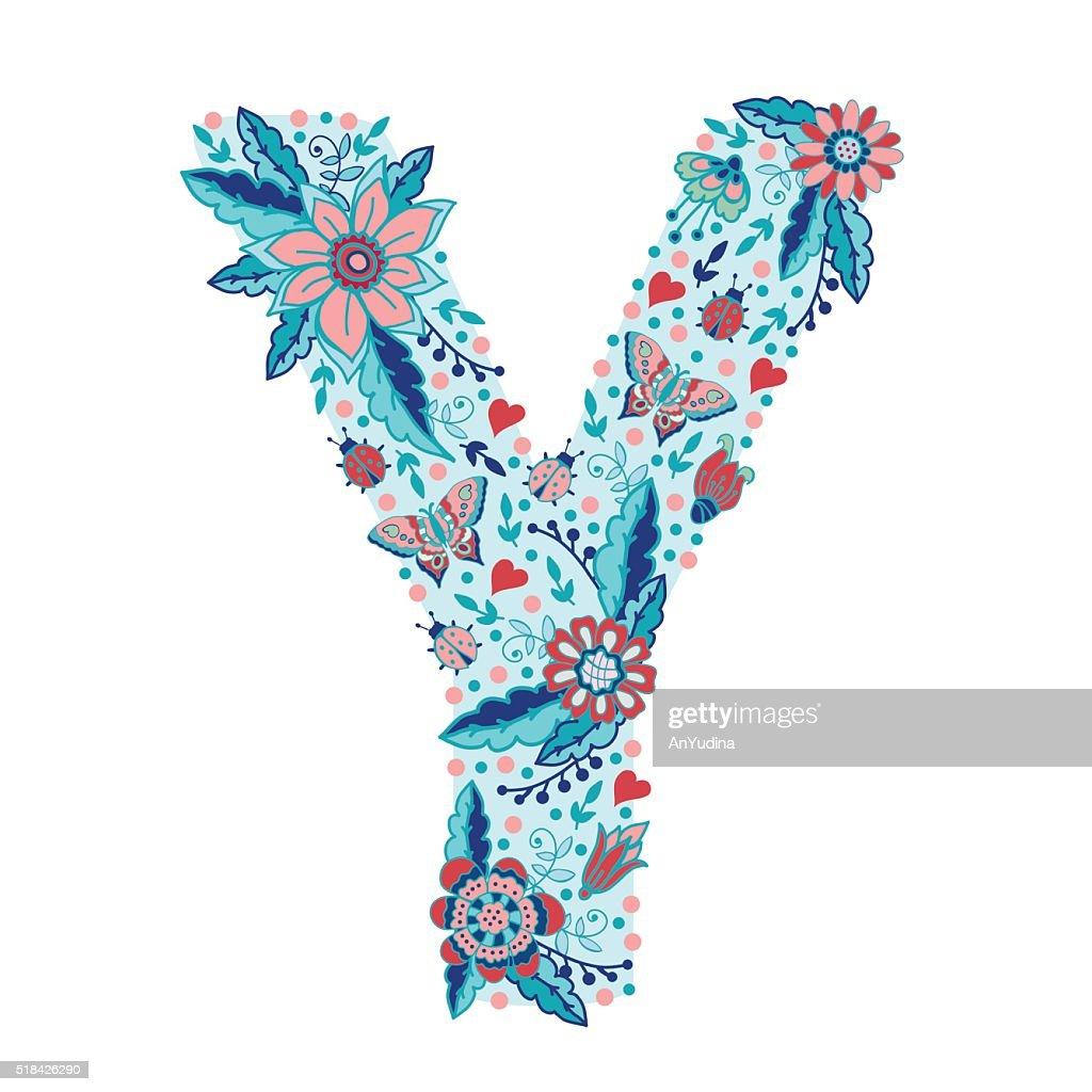 Flower alphabet letter Y