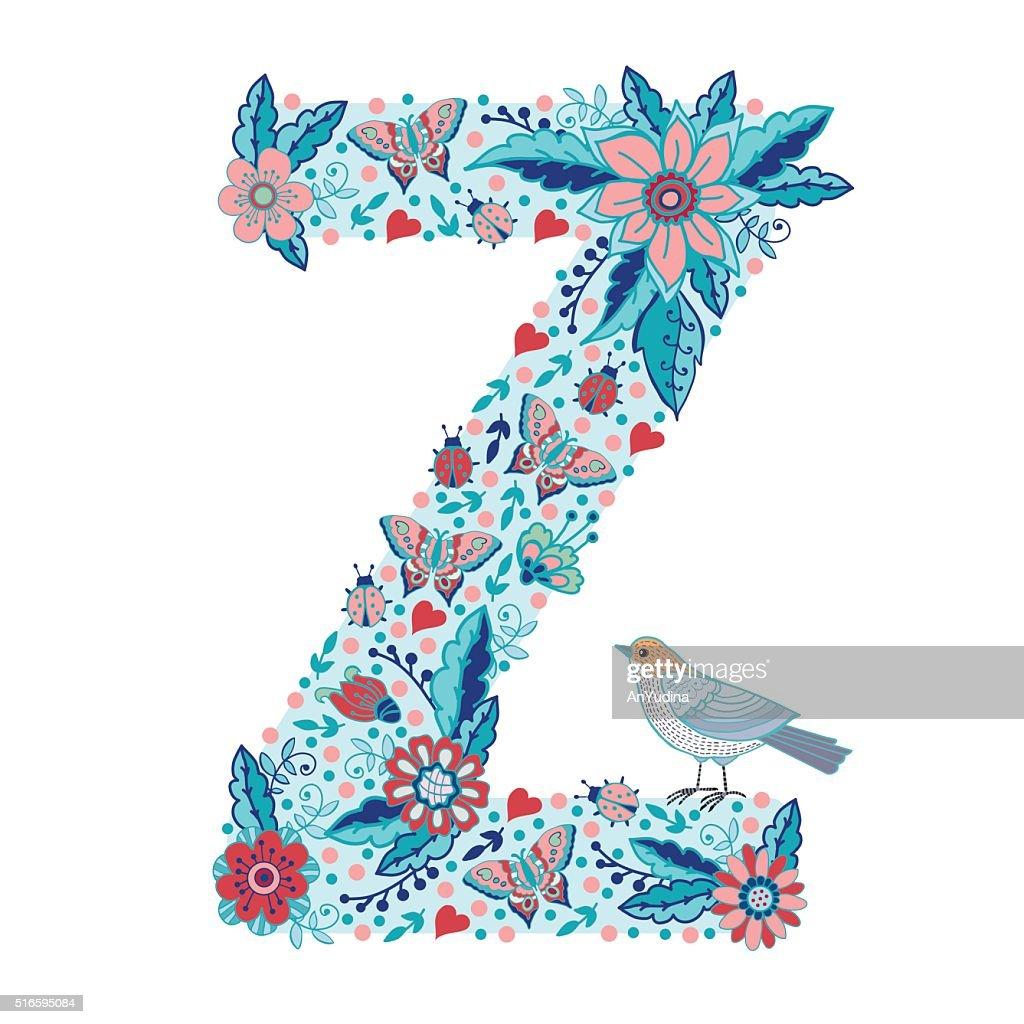 Flower alphabet letter Z