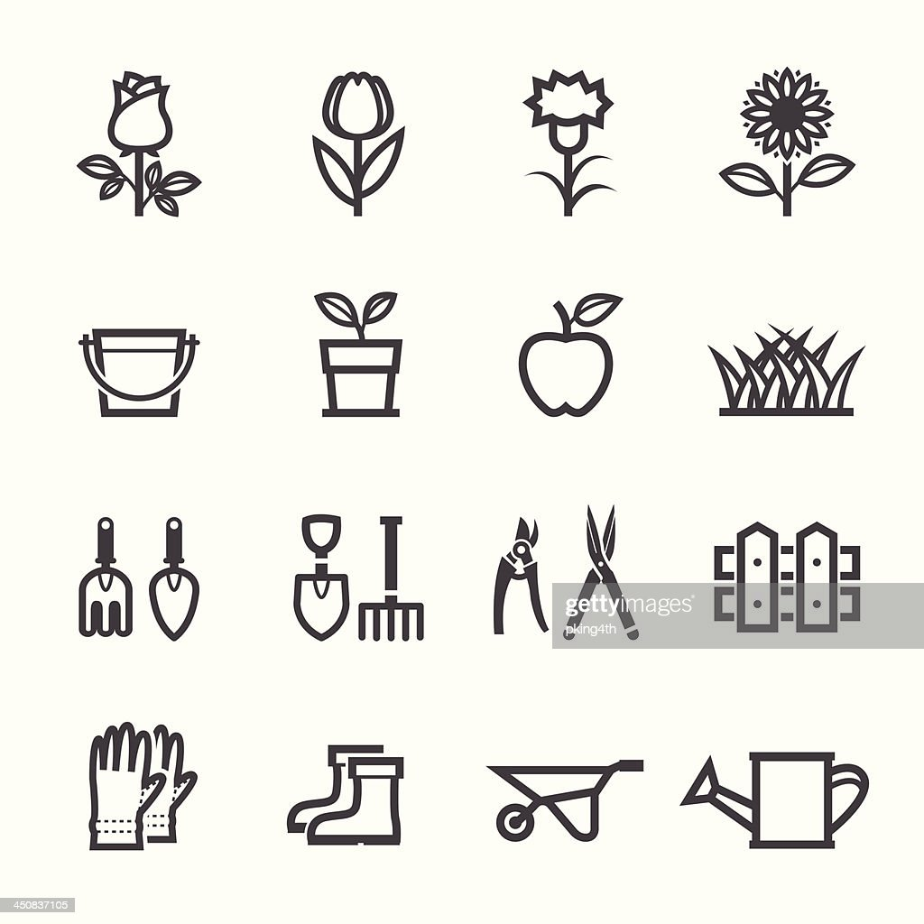 Flower and Gardening Tools Icons