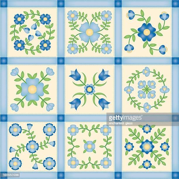 ilustraciones, imágenes clip art, dibujos animados e iconos de stock de flor applique colcha de retales cuadras - patchwork
