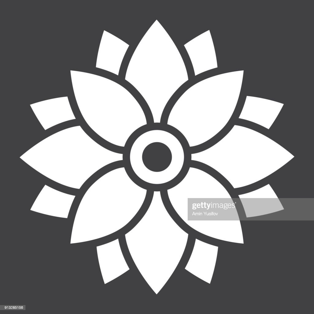 Flower Astra glyph icon, easter and holiday, nature sign vector graphics, a solid pattern on a black background, eps 10.