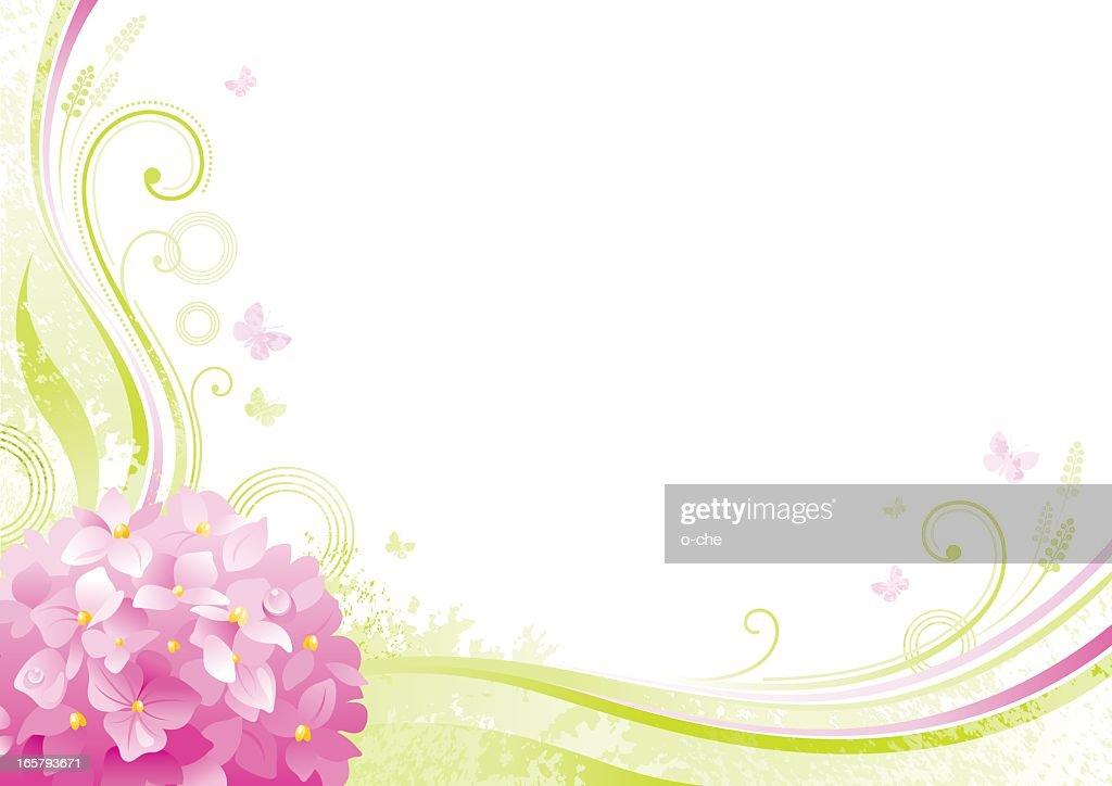 Flower background with copyspace: pink Hydrangea