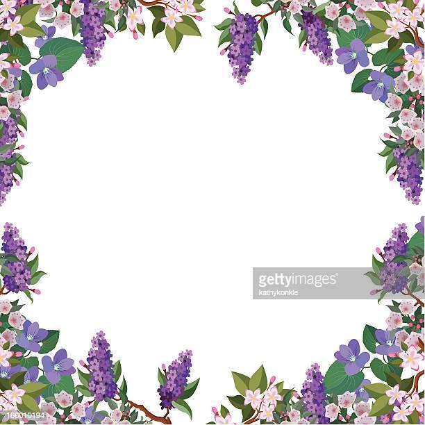 花のボーダーフレーム - ライラック点のイラスト素材/クリップアート素材/マンガ素材/アイコン素材