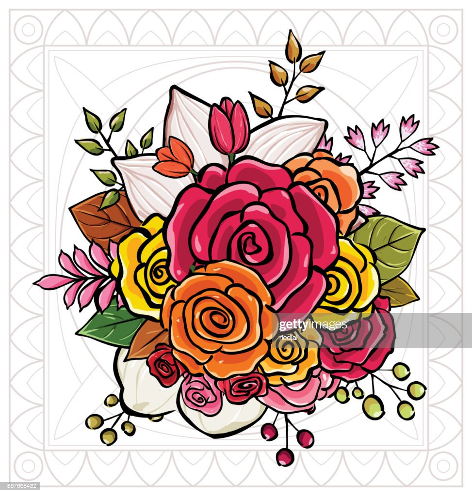 Flower Bouquet Vector Illustration Vector Art Getty Images