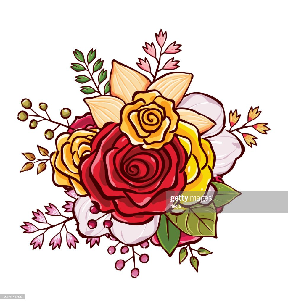 Flower Bouquet Vector Illustration Vector Art Getty Images