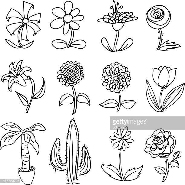 flower collection in black and white - gerbera daisy stock illustrations, clip art, cartoons, & icons