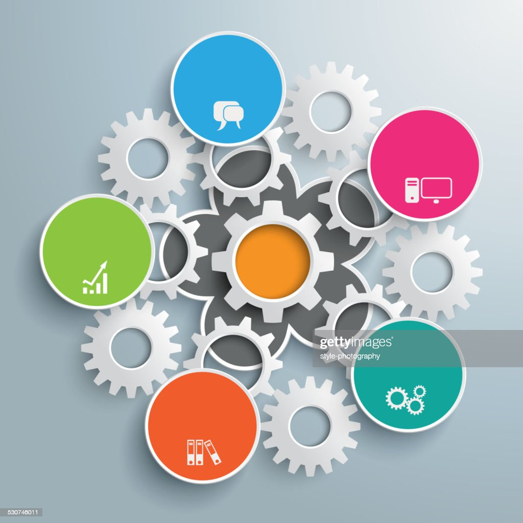 Flower Colored Infographic White Gears PiAd