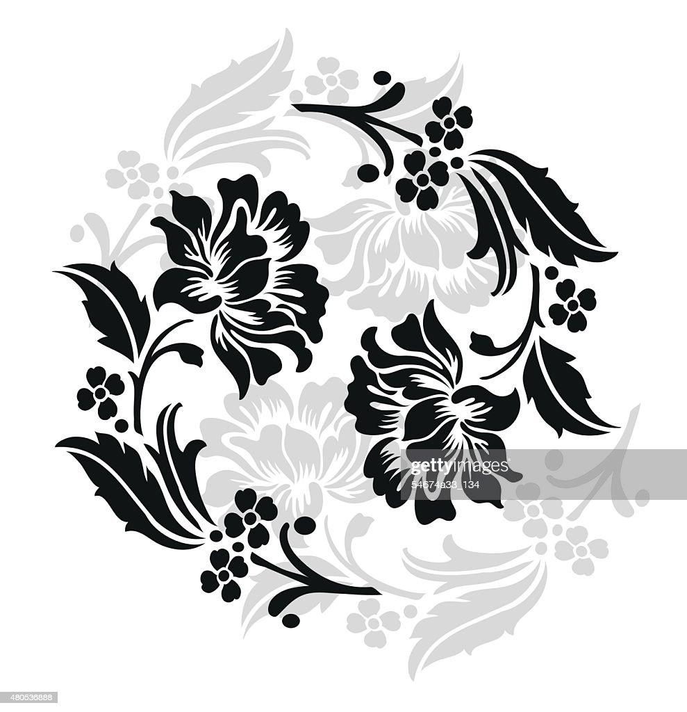 flower design sketch for pattern,lace edge,flower motif.