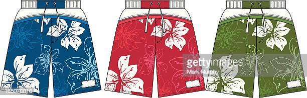 Flower Design Surf Board Beach Shorts