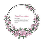 Flower frame of rose. Drawing and sketch on white background.