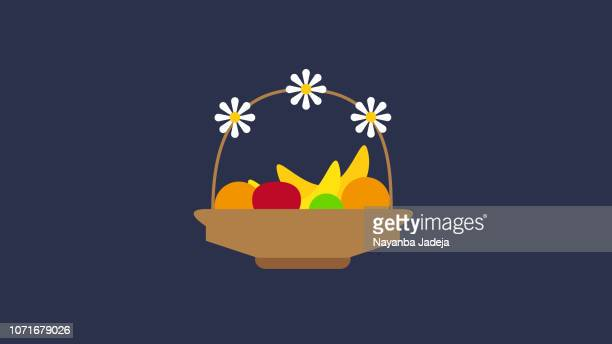 Flower, fruit basket icon