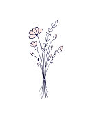 Flower. Hand drawn bouquet of wildflowers. Light and delicate illustration