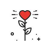 Flower heart line icon. Love sign and symbol. Love garden gardening flower romantic tattoo theme.