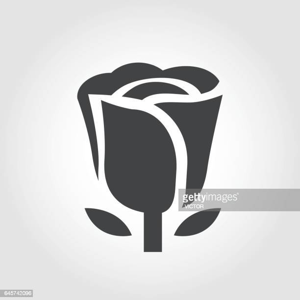 flower icon - iconic series - rose flower stock illustrations, clip art, cartoons, & icons