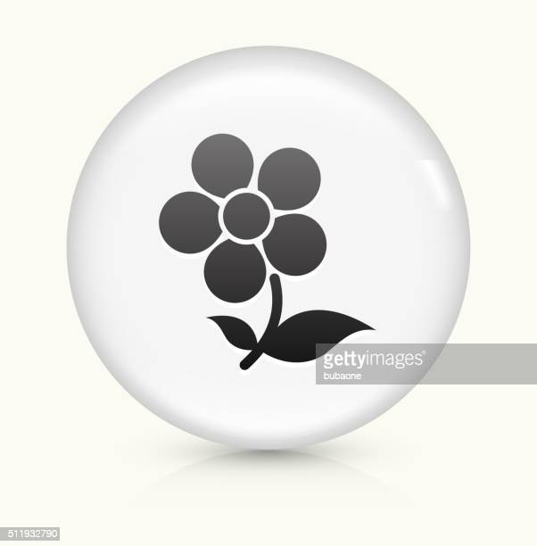 Flower icon on white round vector button