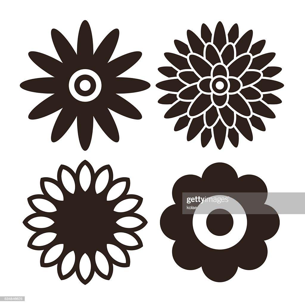 Flower icon set - gerbera, chrysanthemum, sunflower and daisy