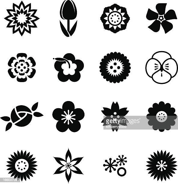 flower icon set - ranunculus stock illustrations, clip art, cartoons, & icons